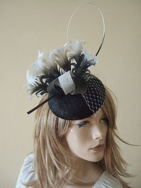 Black White Ombre Curled Goose Nagoire Feathers Large Button Headpiece Fascinator
